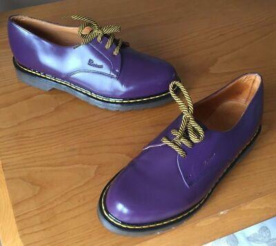 Attento Vintage Dr Martens 1461 Pelle Viola Tg Uk 8 Eu 42 Made In England-mostra Il Titolo Originale Garanzia Al 100%