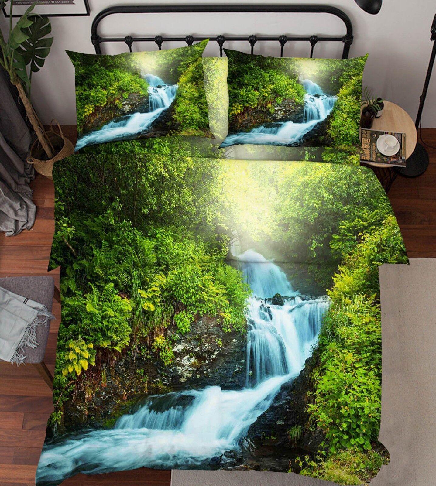 3D Grove Falls 66 Bed Pillowcases Quilt Duvet Cover Set Single King UK Lemon