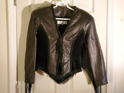 LILLIE RUBIN Leather Jacket Womens Black Fringe Cr
