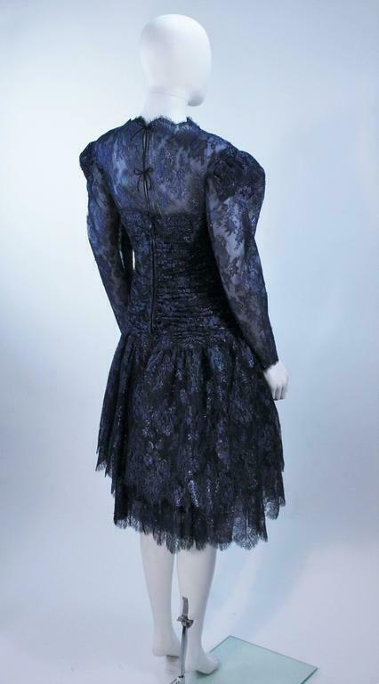 ARNOLD SCAASI Navy Metallic Lace Cocktail Dress S… - image 8