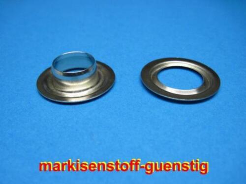 100 Ösen aus Messing 10 mm mit Scheibe vernickelt Neu L9110