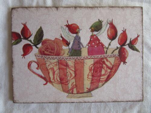 "Madera tarjeta postal /""Dream Cups/"" escaramujo silke Leffler nostalgia Style"