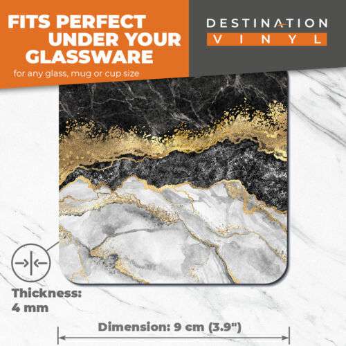 Marble Gold Stone Effect Art Home Gift #21842 2 x Coasters