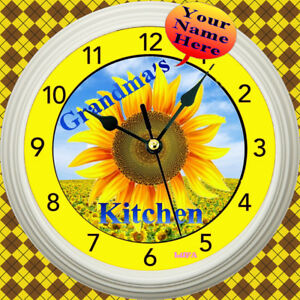 Image Is Loading PERSONALIZED SUNFLOWERS KITCHEN WALL CLOCK