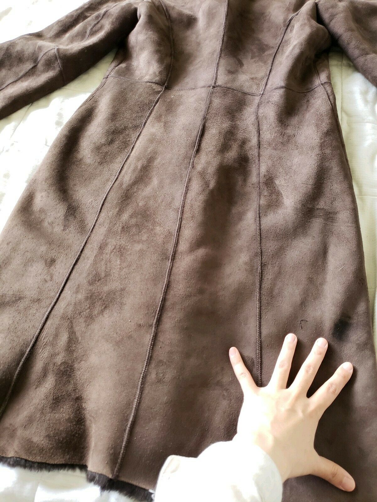The Limited genuine full length shearling coat sl… - image 11