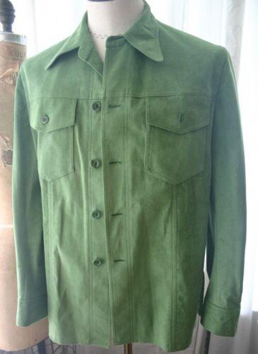 Vintage Green Ultrasuede Mens Jacket 70s 38