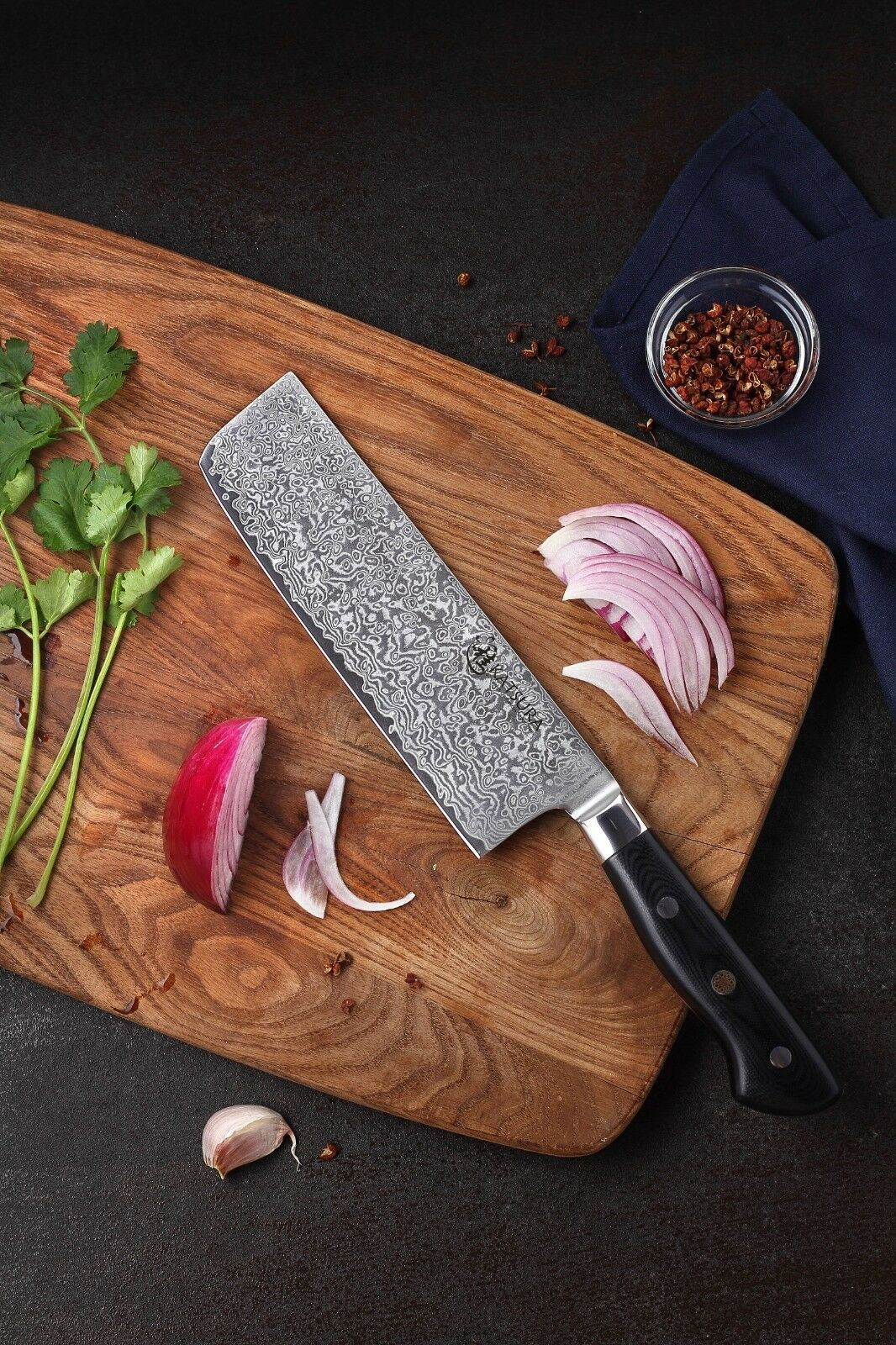 KATSURA Premium Japanese AUS 10 Damascus Steel 67 Layer vegetable Nakiri 7-in