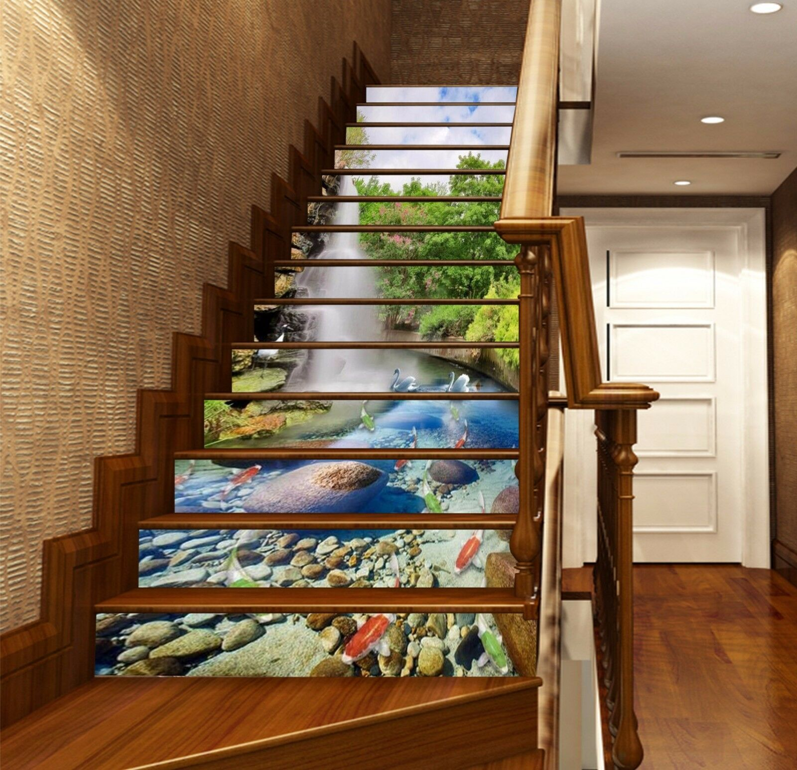3D Fish Pond Falls Stair Risers Decoration Photo Mural Vinyl Decal WandPapier AU