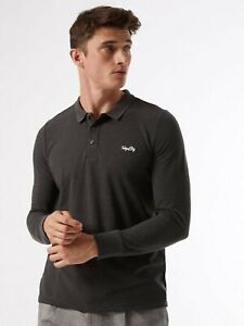 BURTON MENSWEAR LONDON Mens Grey Embroidered Polo Shirt Long Sleeve Blouse Top