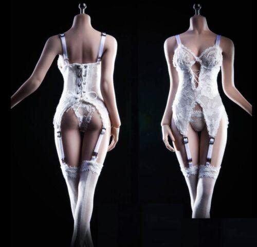 1//6 femme blanc lingerie corset Gartering bas pour Phicen Hot Toys ❶ USA ❶