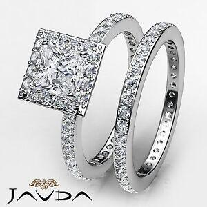 Diamante-Talla-Princesa-Halo-Set-Nupcial-Anillo-de-Compromiso-GIA-i-VS2-14k