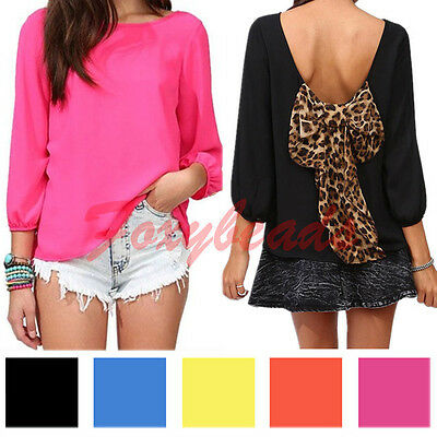 Women Chiffon Long Sleeve Shirt Sexy Leopard Loose Tops Blouse T-Shirt with Bow
