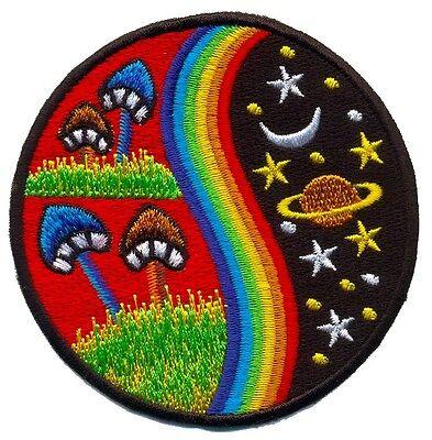 Mushroom rainbow hippie cosmic boho retro love peace applique iron-on patch T-24