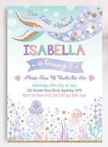 Mermaid Invitation Pastel Birthday Party Invite Under The Sea Pink