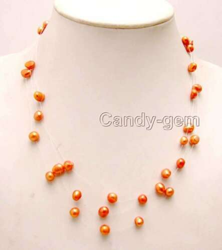 """SALE 6-7mm Red BAROQUE Natural FW Pearl 3 Strands 18/"""" Starriness Necklace-ne6179"""