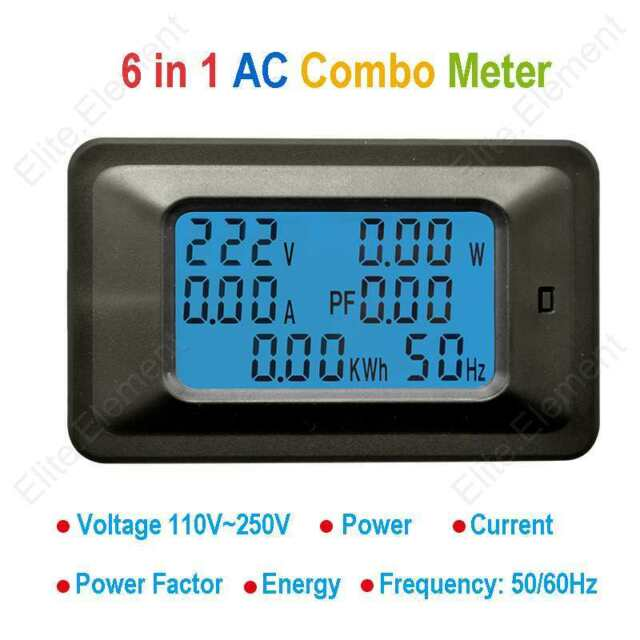 AC 6in1 Multimeter Voltage 250V Current 100A Power Factor Energy Frequency W/ CT
