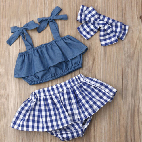 0-18M StylesILove Baby Girl Plaid Blue Cotton Top Skirt /& Headband 3pcs Outfit