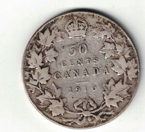 CANADA-1910-50-CENT-VICTORIAN-LEAVES-HALF-DOLLAR-EDWARD-VII-STERLING-SILVER-COIN