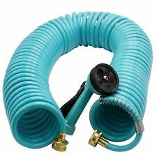 Melnor Garden Coil Hose with All Brass Connectors and Storage Rack; Extends u...