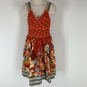 Girls-Rare-Edition-Red-Floral-Dress-Cotton-Size-8