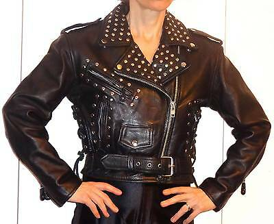 LK BLACK LEATHER WOMEN MOTORCYCLE SILVER STUDS JACKET THINSULATE 3M  ROCKY S XS