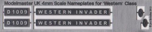 4mm 00 MODELMASTER Etched Nameplate D1009 WESTERN INVADER Black