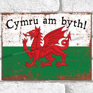 Cymru am byth! Metal Signs Welsh Dragon Flag Wall Plaque Rustic Tin Sign Wales