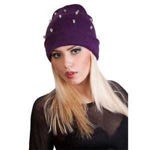 Winter Hat Girls ladies Women slouch beanie hat Skull One Size Black ... 01cc170b8c2