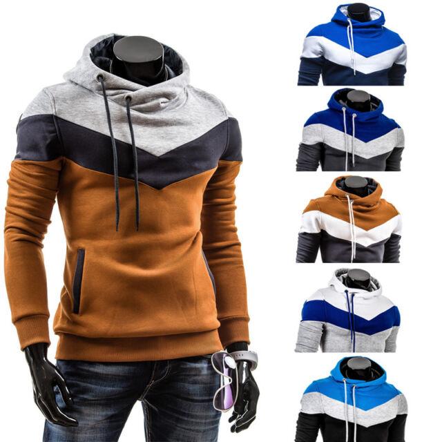 New Mens Winter Slim Hoodie Warm Pullover Sweatshirt Hooded Coat Outwear Sweater