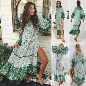 AU-Stock-Summer-Womens-Floral-Boho-Long-Dress-Evening-Party-V-Neck-Maxi-Dresses