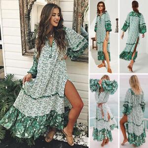 AU Stock Summer Womens Floral Boho Long Dress Evening Party V Neck Maxi Dresses