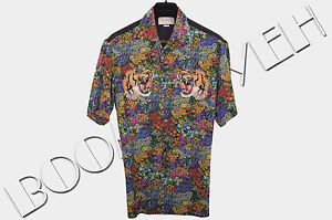 GUCCI 1280  Authentic New Silk Floral Print Tiger Embroidery Bowling ... 28d70672512