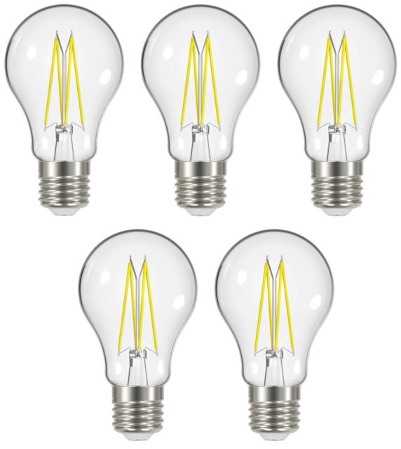 5 x Energizer 8w (=75w) LED Clear GLS Filament Bulb, Extra Warm White 2700k ES
