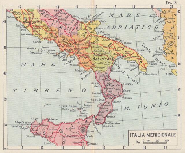 Cartina Dellitalia Meridionale.C2598 Italia Meridionale Carta Geografica D Epoca 1933 Vintage Map Ebay