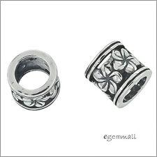 Sterling Silver Flower Tube Charm Spacer Bead Fit European Bracelet #51952