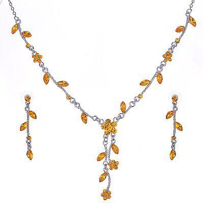 Collier aretes set novia joyas Trachten joyas hojas cadena amarillo