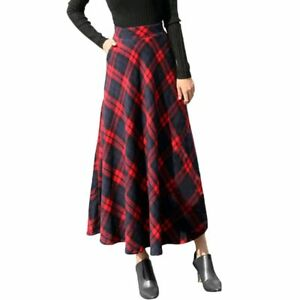 Plaid-Skirts-Women-Long-A-Line-British-Style-Wool-Winter-Vintage-Tartan-Umbrella