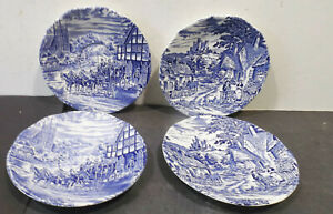 4-Old-Plate-Dm-5-11-16in-Old-English-Village-Enoch-Wedcwood-Tunstall-England