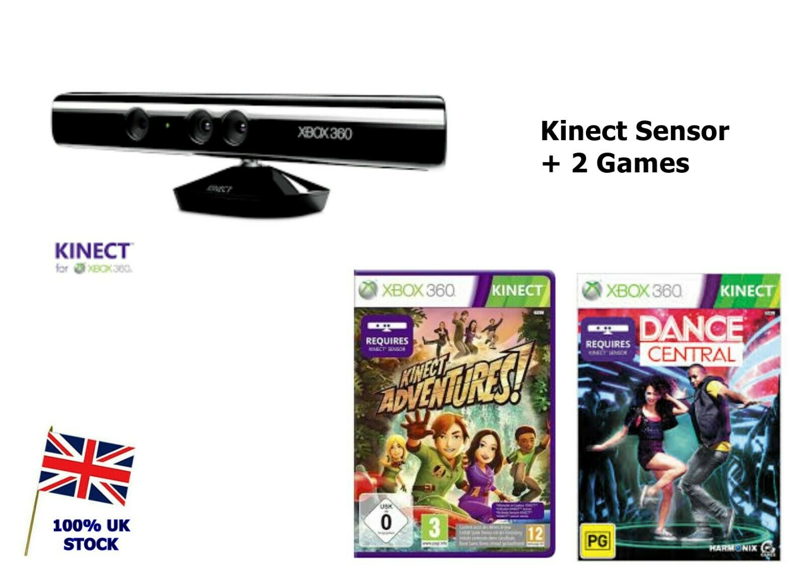 Xbox 360 Kinect Sensor BUNDLE with 2 GAMES - Kinect Adventures + Dance Central