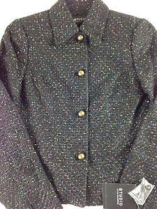 Liz-Claiborne-Tweed-Jacket-Womens-Luxurious-Black-Colorful-Business-Blazer-Coat