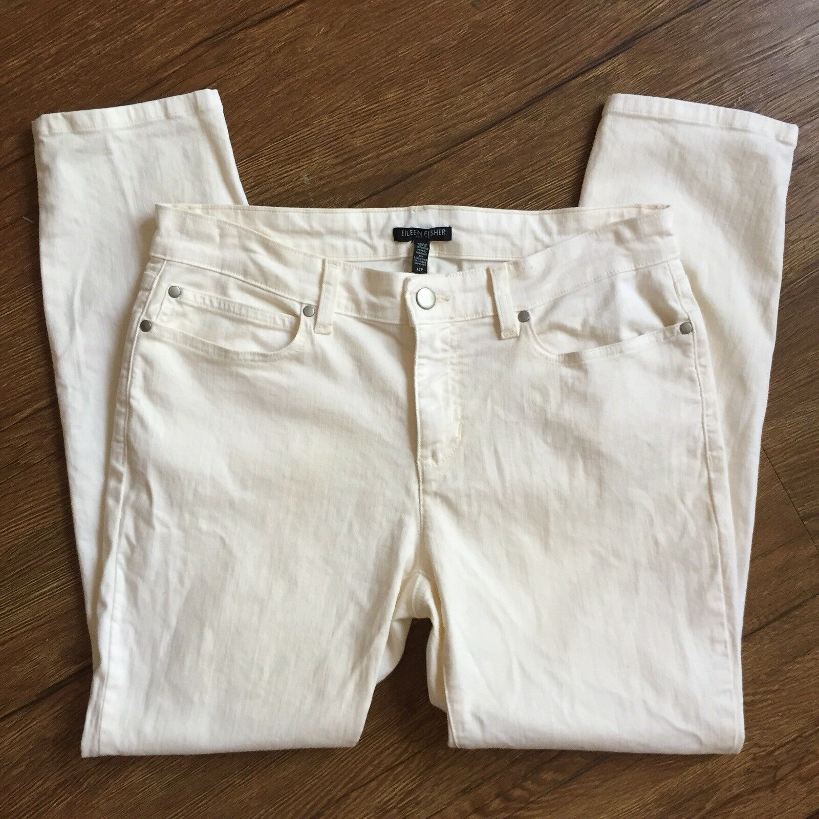 Eileen Fisher Womens White Jeans Skinny Slim Petite Size 12 P