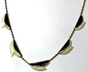 VINTAGE 19K 800 YELLOW GOLD SMALL SERRATED SHARK TOOTH NECKLACE ANIMAL 16""
