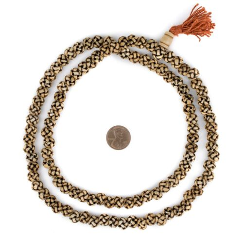 Rustic Woven Carved Bone Mala Prayer Beads 10mm Nepal Brown Round Large Hole