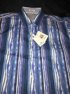 NWT-BUGATCHI-UOMO-Men-039-s-CLASSIC-BLUE-STRIPED-SHAPED-FIT-SPORT-SHIRT-XL