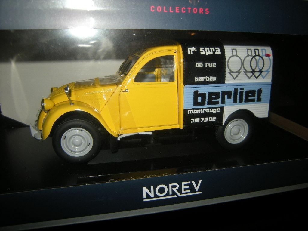 1 18 Norev Citroen 2cv fourgonnette 1956 BERLIET nº 181600 neuf dans sa boîte