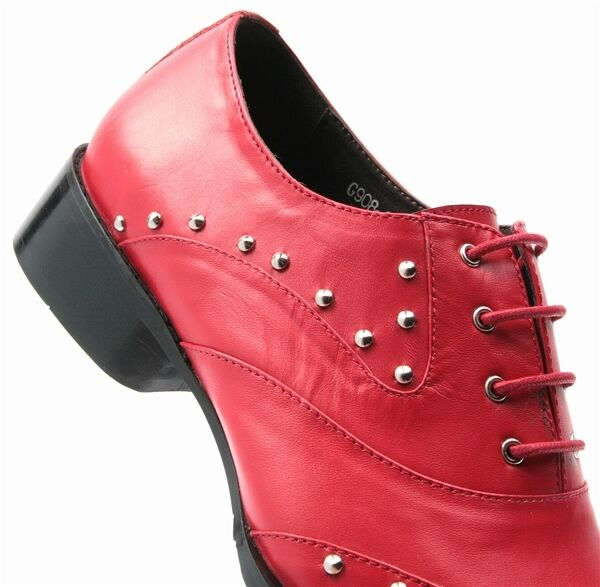Zota Uomo Red Pelle Studded Wing Tip Up Metal Point Toe Lace Up Tip Dress Party Shoe d0b8b7