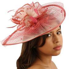 Fancy Feathers Fishnet Headband Fascinator Tear Drop Millinery Cocktail Hat Pink
