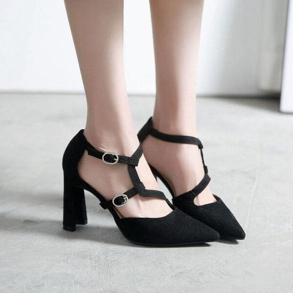 zapatos de salón mujer en negro talón cuadrado 9 cm como piel elegantes 9684