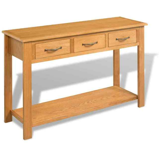 Vidaxl Solid Oak Console Table 3 Drawers Desk Side Wood Hall Hallway Entrance For - Solid Oak Side Table With Drawers
