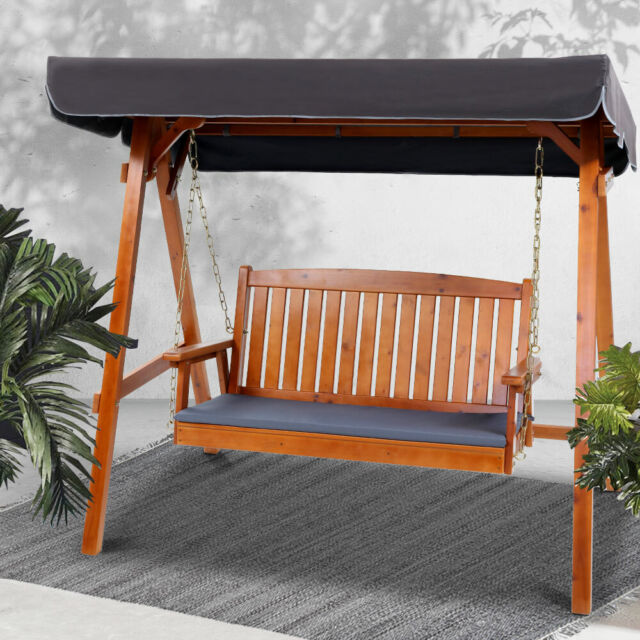 Gardeon 3 Seater Wooden Outdoor Canopy Swing Chair Cushions Waterproof Furniture